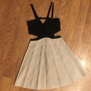 Black and Nude Cut Out Bondage Circle Dress